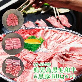 【送料無料】 BBQ 焼肉 焼肉セット レビュー特典 焼き肉 カルビ 黒毛和牛(経産牛)とかごしま黒豚焼肉セット 650g 牛肉 豚肉 取り寄せ ギフト 熨斗対応可