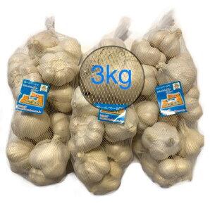 にんにく 青森県産 「ホワイト六片にんにく」 業務用にんにくLサイズ3kg 2020年新物 産地直送 送料無料