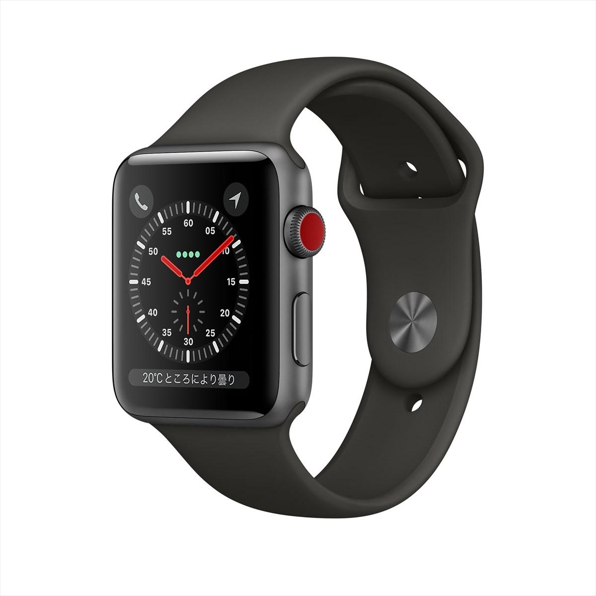 アップルウォッチ 本体 Apple Watch Series 3 42mm スペースグレイアルミニウムケースとブラックスポーツバンド シリーズ3 (GPS + Cellularモデル)MQKN2J/A