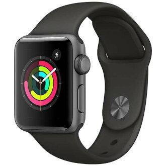 [P최대 32배+최대 2,000엔인쿠폰유]애플 워치 본체 Apple Watch Series 3 42 mm스페이스 그레이 알루미늄 케이스와 블랙 스포츠 밴드 시리즈 3 (GPS 모델) MTF32J/A MTF32JA