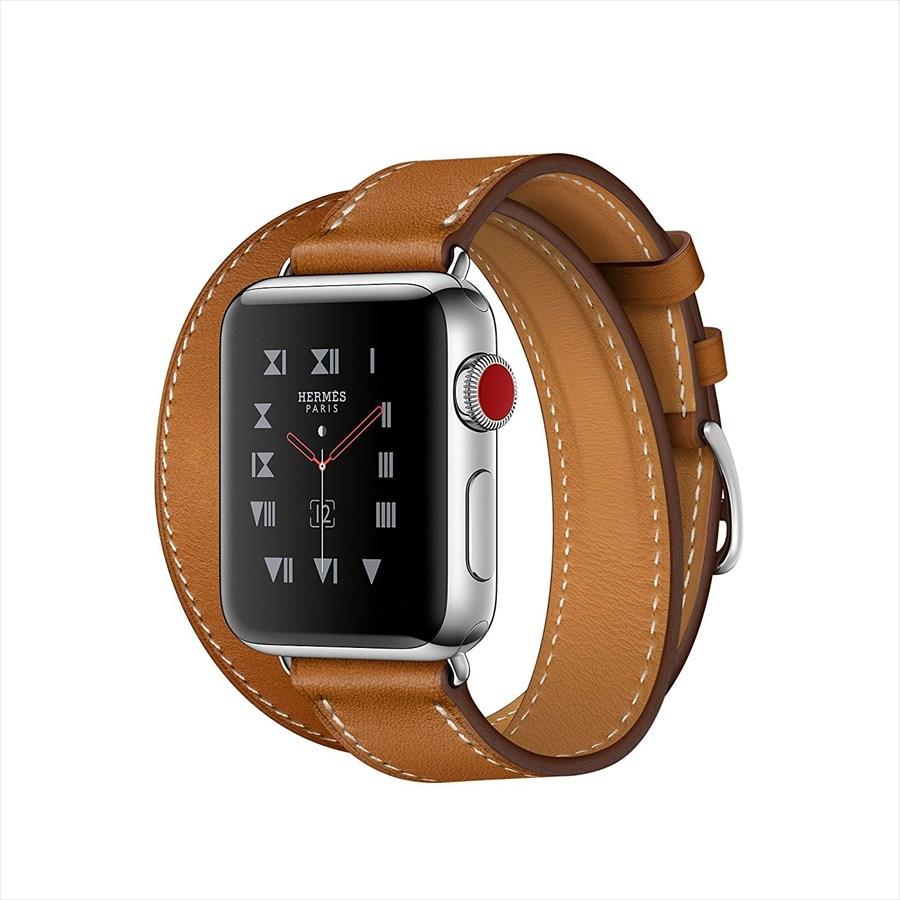 Apple Watch Hermes ステンレススチールケースとヴォー・バレニア(フォーヴ)ドゥブルトゥールレザーストラップ GPS + Cellularモデル Series3 アップルウォッチ エルメス 本体 シリーズ3 MQML2J/A MQML2JA