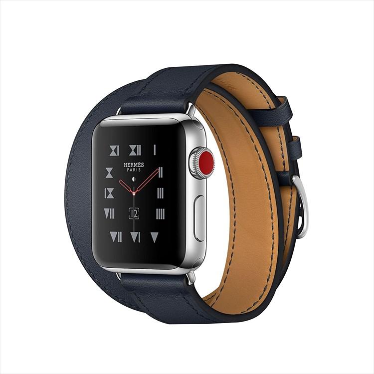 Apple Watch Hermes ステンレススチールケースとヴォー・スウィフト(インディゴ)ドゥブルトゥールレザーストラップ GPS + Cellularモデル Series3 アップルウォッチ エルメス 本体 シリーズ3 MQMM2J/A MQMM2JA