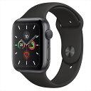 Apple Watch Series 5(GPSモデル)44mmスペースグレイアルミニウムケースとブラックスポーツバンド S/M & M/L MWVF2J/A…