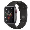 Apple Watch Series 5(GPS + Cellularモデル)44mmスペースグレイアルミニウムケースとブラックスポーツバンド S/M & M/L MWWE2J/A アップルウォッチ