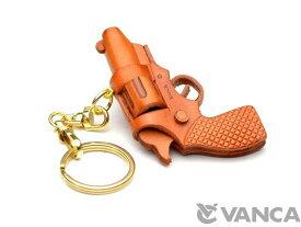 拳銃 キーホルダー【レザー 本革 VANCA バンカクラフト革物語 国産 ハンドメイド 贈り物 即納】