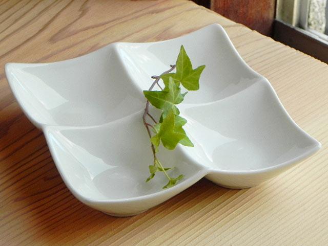 ホワイト4菜プレ−ト カフェ食器/業務用