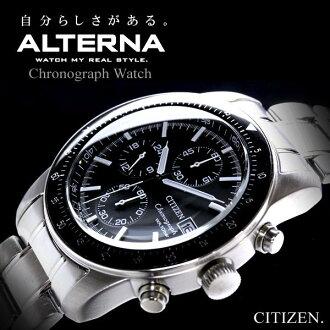 替代公民计时特色男式手表黑 / 银 VO10-5892