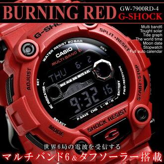 電波手錶凱西歐 g 衝擊男裝看電臺太陽燃燒紅 GW-7900RD-4 太陽能手錶凱西歐