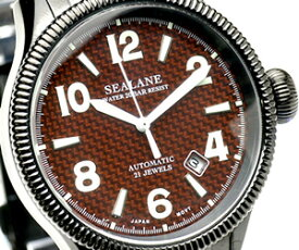 ブランド 腕時計|自動巻腕時計 オートマティック シーレーン機械式腕時計の鼓動を垣間見る事が出来るシースルーバック採用ブラックIP加工がセクシー 送料無料