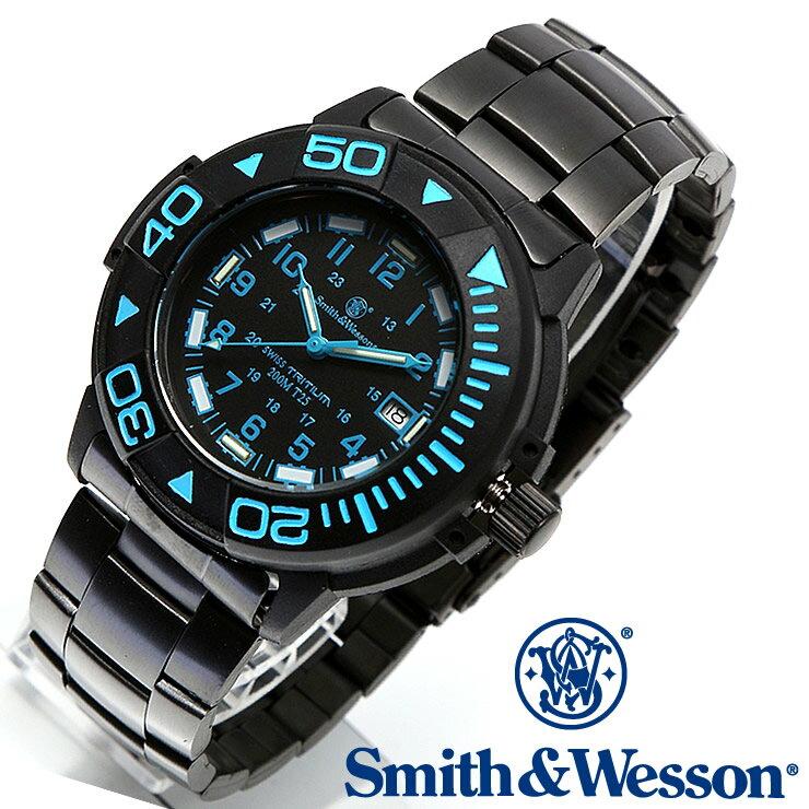 [正規品] スミス&ウェッソン Smith & Wesson スイス トリチウム ミリタリー腕時計 SWISS TRITIUM DIVER WATCH BLACK/BLUE SWW-900-BLU [あす楽] [ラッピング無料] [送料無料] [雑誌掲載ブランド]