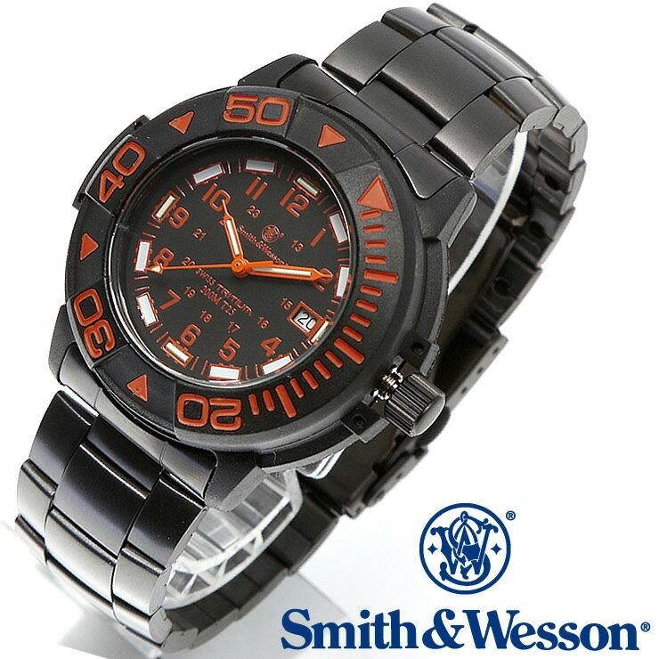 [正規品] スミス&ウェッソン Smith & Wesson スイス トリチウム ミリタリー腕時計 SWISS TRITIUM DIVER WATCH BLACK/ORANGE SWW-900-OR [あす楽] [ラッピング無料] [送料無料] [雑誌掲載ブランド]