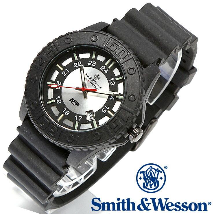 [正規品] スミス&ウェッソン Smith & Wesson スイス トリチウム ミリタリー腕時計 SWISS TRITIUM M&P WATCH BLACK/SILVER SWW-MP18-GRY [あす楽] [ラッピング無料] [送料無料] [雑誌掲載ブランド]