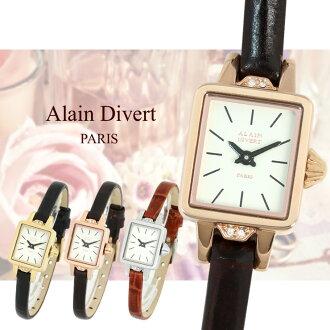 阿兰 · 分流巴黎女士手表可爱 2 厘米 x 1.7 厘米小广场面对施华洛世奇水晶使用妇女的品牌手表 02P24Oct15