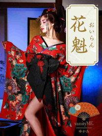 vanityME.高級着物ドレス浴衣 紅色花魁 赤 和柄 本格和装S・Mサイズ vyt-170331-1