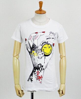 """Tract(トラクト) プリント Tシャツ """"HAND OK"""" [TR54AM] WHITE"""