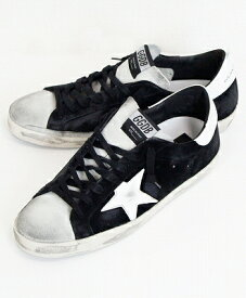 GOLDEN GOOSE(ゴールデングース) ヴィンテージ加工 ローカットスニーカー SNEAKERS SUPERSTAR [G35MS590.Q22] BLACK SUEDE-ICE-WHITE STAR