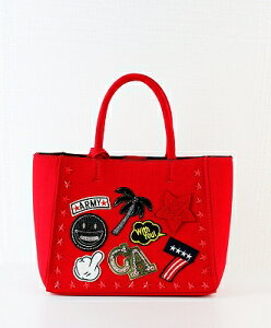 TRE☆STAR(トレスター) ワッペン キャンバス トートバッグ Sサイズ WAPPEN CANVAS TOTE - S [TWCS-02] RED