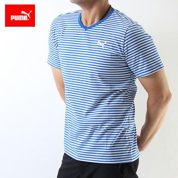 (50%OFFセール)プーマPUMAメンズ半袖Vネックボーダー柄Tシャツ(吸汗速乾ドライUV)(メンズアパレル)903392 ブルー