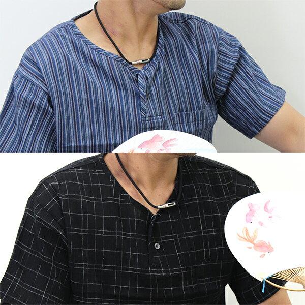 先染め柄クレープ生地の半袖ヘンリーネックシャツ綿100%(ステテコ素材の胸ポケット付き半袖シャツ14-702)