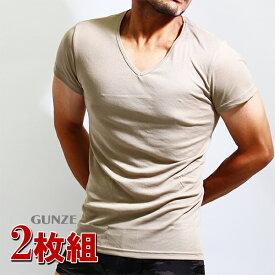 GUNZE(グンゼ)YG ベージュ インナーtシャツ/2枚組み/vネック 2枚セット/透けにくい/ベージュ/肌着/メンズ/YV0115/半袖V首/ベージュ色/Yシャツ/透けにくい/メンズ/tシャツ/カッターシャツ すけにくい 送料無料 メンズインナー アンダーウエア グンゼYG