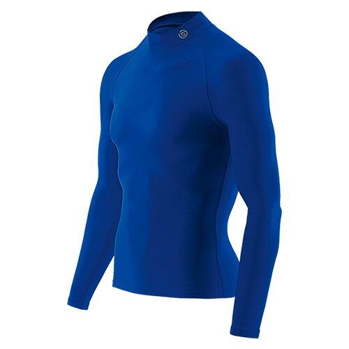 送料無料SKINS(スキンズ)メンズロングスリーブトップ(長袖モックネックシャツ)マルチコンプレッション、オールシーズン(ブルー)