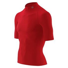 送料無料SKINS(スキンズ)メンズショートスリーブトップ(半袖モックネックシャツ)マルチコンプレッション、オールシーズン(レッド)