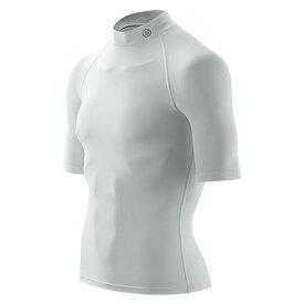 送料無料SKINS(スキンズ)メンズショートスリーブトップ(半袖モックネックシャツ)マルチコンプレッション、オールシーズン(ホワイト)