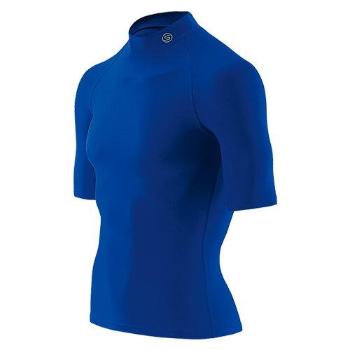 送料無料SKINS(スキンズ)メンズショートスリーブトップ(半袖モックネックシャツ)マルチコンプレッション、オールシーズン(ブルー)