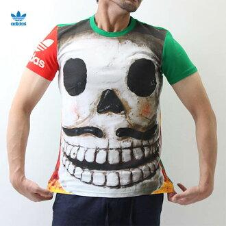 愛迪達原始物(adidas originals)男子的死者的日DAYDEAD雙槳劃艇花紋短袖T恤全盤總復印件