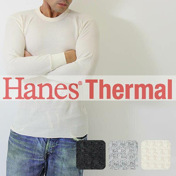 Hanes(ヘインズ)サーマル長袖 丸首tシャツ (MH4118) メンズ ロンt