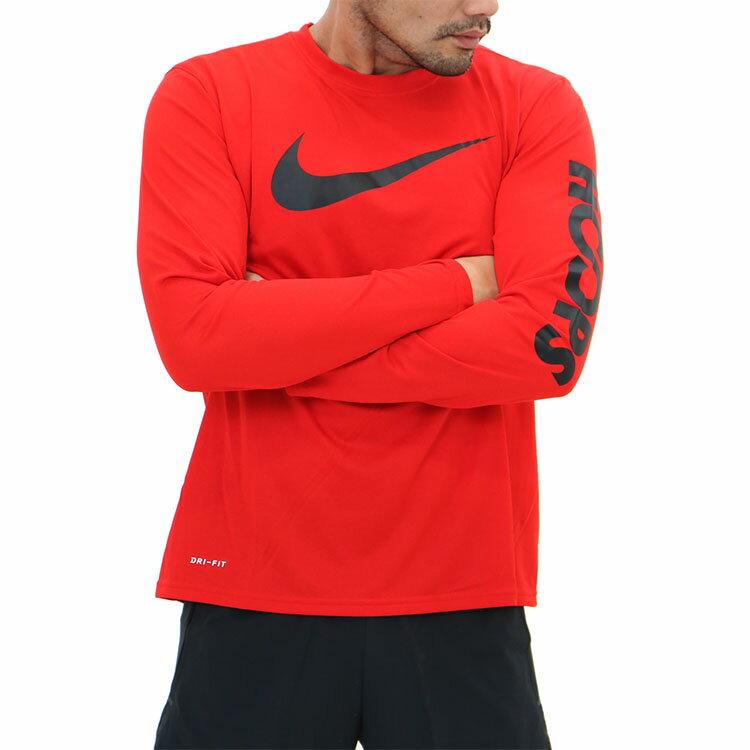 ナイキ(NIKE)吸汗速乾長袖tシャツ/赤/ドライ/速乾/ロングスリーブ/tシャツ/メンズ/921942/nike/ポリエステル100%/スポーツt/ビッグロゴ