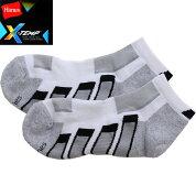 X-Tempヘインズソックスビジネスメンズ靴下黒ブラック男性用クルー丈調温快適底パイルHMSAF007S