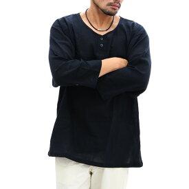 送料無料 綿100% クレープ 7分袖シャツ ヘンリーネック 黒 メンズ 鯉口シャツ風 7分袖 吸汗速乾 涼しい 大きい ネット限定 涼しい 春夏 クレープ生地 黒 ブラック シャツ 7分袖 ヘンリーネック 祭り 夏