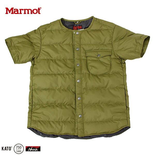 送料無料)Marmot(マーモット)カトーベリーベストダウンティー(ダウンシャツ半袖)MJD-F6100(Marmot×KATO`)SGRNセージグリーン 高橋一生