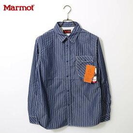 春夏 送料無料)Marmot(マーモット)カトーストライプロングスリーブシャツ MJS-S7052(Marmot×KATO`)KATO` Stripe L/S Shirt ブラック