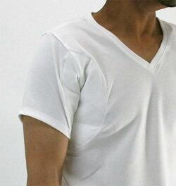 多汗症対策オール日本製【重度対応】メンズ脇汗インナーわき汗パッド付きインナーシャツ半袖Vネック【ベルオアシスの高い吸収、消臭、吸湿、放湿、耐久性】Vネック半袖Tシャツ白【ワキ汗対策】【汗取り機能付きインナー】