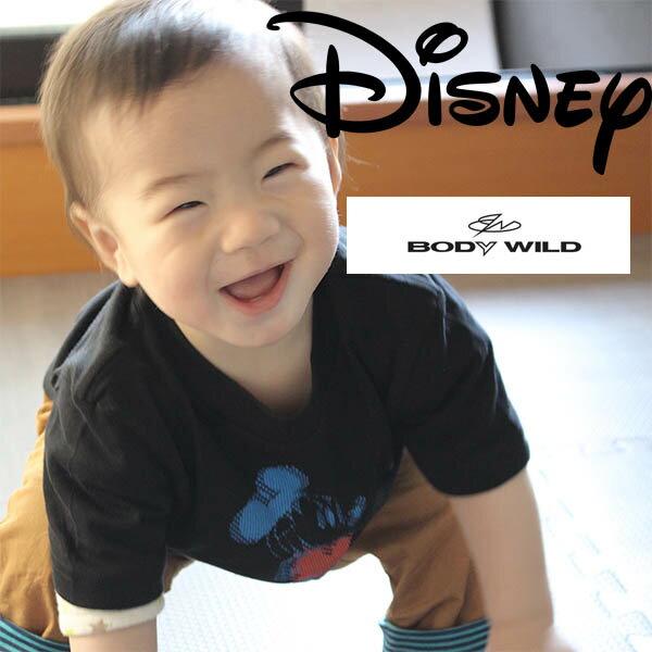 キッズ用ミッキー柄 Disney(ディズニー×ボディーワイルド)半袖tシャツ 綿100% 上質コットン disney/bodywildキッズ用(サイズ100/110/120/130)子供tシャツ ミッキーマウス