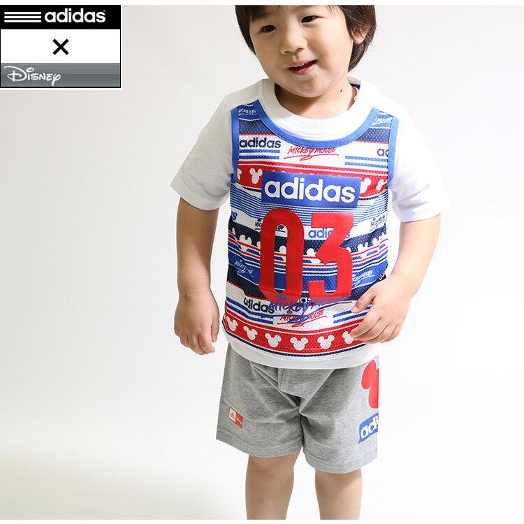 キッズ adidas アディダス×ディズニーミッキーコラボDISNEY ミッキー Tシャツ&ハーフパンツ 上下セット/ENQ65