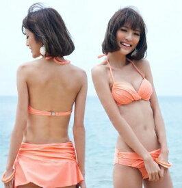 3点セット小さめサイズビキニ水着 ワイヤー入り オレンジ色 レディース ピンク色 ヌーディ Mサイズ Lサイズ XLサイズ 9号 7号 11号 サーモンピンク色 ガールズ ワンピース