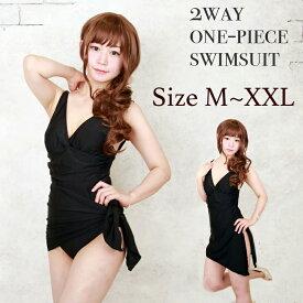体型カバー スレンダーに見える ワンピース水着 ブラック 黒色 かわいい Mサイズ Lサイズ XLサイズ セクシー レディース水着 スイムウェア