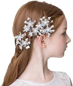 髪飾り フォーマル Uピン 3個セット 花飾り ヘアアクセサリー 子供 女の子 発表会 フラワーガール[定形外郵便、送料無料、代引不可]