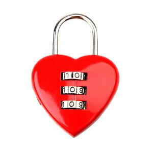 オシャレに防犯! かわいいハート型の南京錠 ダイヤル式 レッド 鍵 ロック[定形外郵便、送料無料、代引不可]