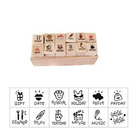 木製スタンプ 12個セット 日記 手帳 スケジュール帳 かわいい ゴム印 はんこ (C)[定形外郵便、送料無料、代引不可]
