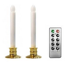 LED 電池式ろうそく 2本セット 燭台付 リモコン付き ロウソク 蝋燭[定形外郵便、送料無料、代引不可]