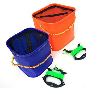 ロープ付き 折りたたみバケツ 《20×20cm》 カラーランダム 釣り アウトドア 活かし 水くみ バッカン[定形外郵便、送料無料、代引不可]