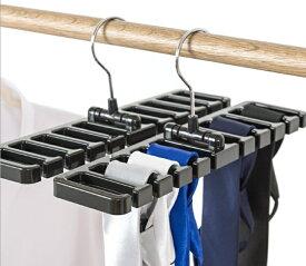 ベルトハンガー 10本収納 2個セット クローゼット ベルト掛け ネクタイ掛け 吊り下げ[定形外郵便、送料無料、代引不可]