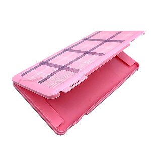 マスクケース 《ピンク》 チェック 収納ケース 2-3枚 持ち歩き マスク入れ 保管ケース[定形外郵便、送料無料、代引不可]
