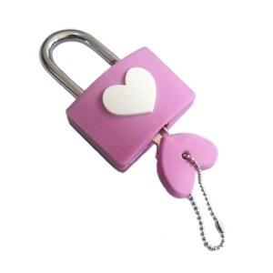 ハートキー ハート型 南京錠 《ピンク 》 ハート形 かわいい おしゃれ 鍵 ロック [定形外郵便、送料無料、代引不可]