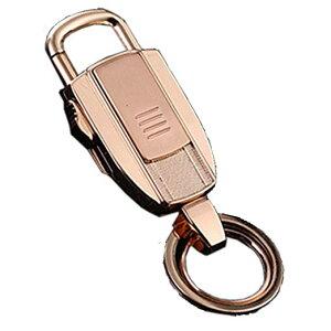 ライター機能付き キーホルダー USBライター オシャレ メンズ カラビナ プレゼント (ゴールド)[定形外郵便、送料無料、代引不可]
