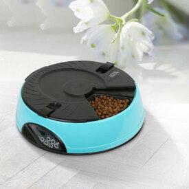 自動給餌機 ペットフィーダー 最大6回分 《ブルー》 自動餌やり機 犬 猫 ペットフード[送料無料(一部地域を除く)]